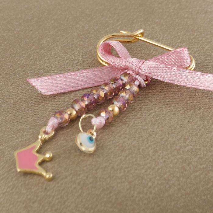 Φυλαχτό παραμάνα με ματάκι για μωρό & κορώνα σε ροζ απόχρωση