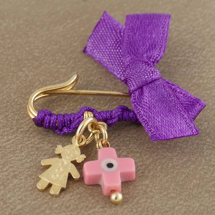 Φυλαχτό ασημένιο επίχρυσο με ματάκι σταυρό για κοριτσάκι