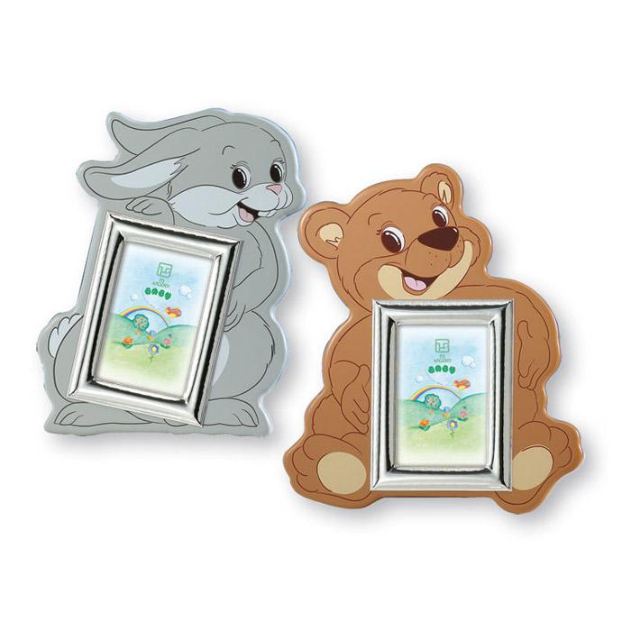 Κορνίζα παιδική ασημένια λαγουδάκι & αρκουδάκι