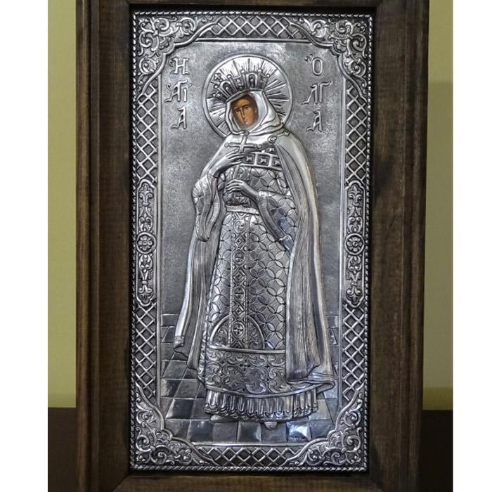 Εικόνα Αγία Όλγα ασημένια