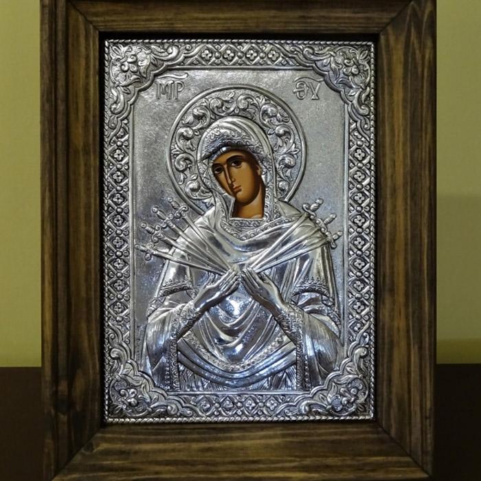 Εικόνα Παναγία Επτάσπαθη ασημένια σε κάδρο