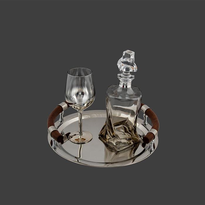 Δίσκος με καράφα & ποτήρι κρασιού για δώρο γάμου