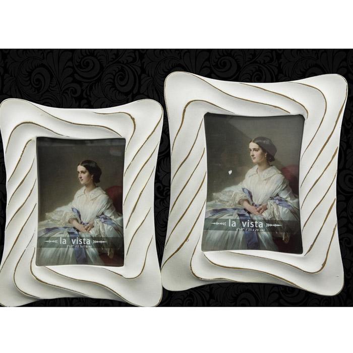 Λευκή κορνίζα με χρυσό για φωτογραφίες γάμου