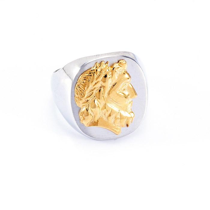 Δαχτυλίδι ασημένιο δίχρωμο με Αλεξάνδρο.