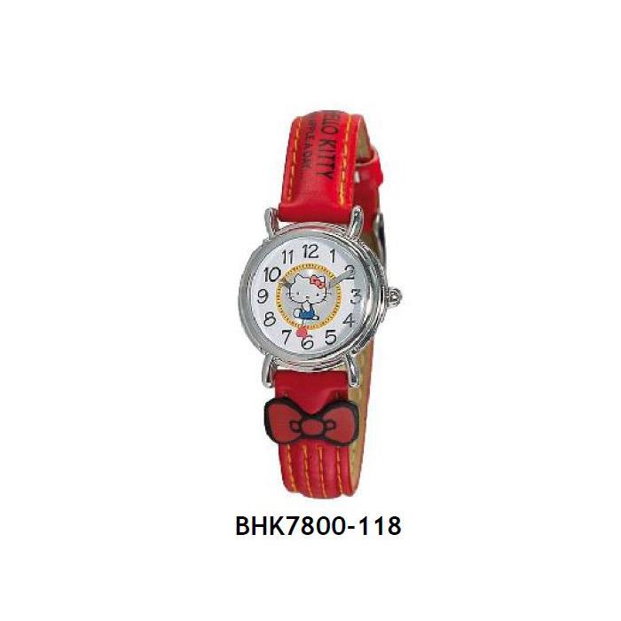 Hello Kitty ρολόι από ανοξείδωτο ατσάλι και κόκκινο δερμάτινο λουράκι