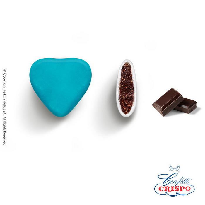 Κουφέτα καρδιές σιέλ Crispo Choco Maxi