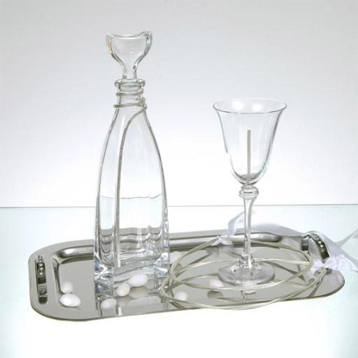 Δίσκος ποτήρι καράφα κρυστάλλινα διακοσμημένα