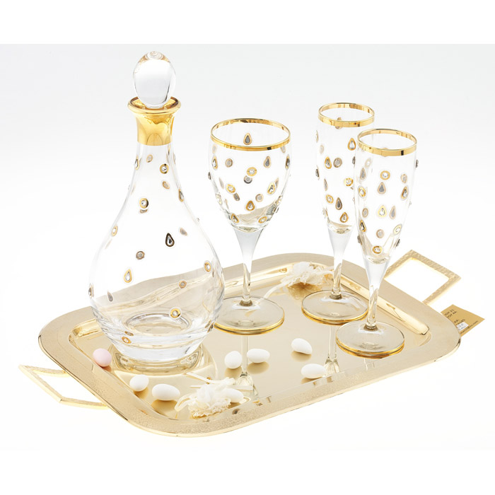 Σετ γάμου με swarovski κρύσταλλα & χρυσό δισκο επάργυρο