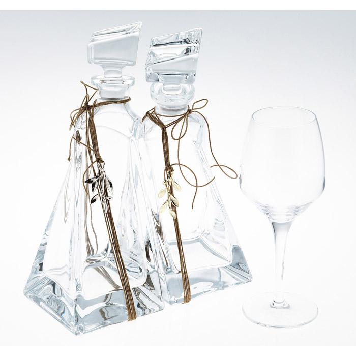 Ποτήρι καράφα LOVERS διακοσμημένη με φύλλα ελιάς