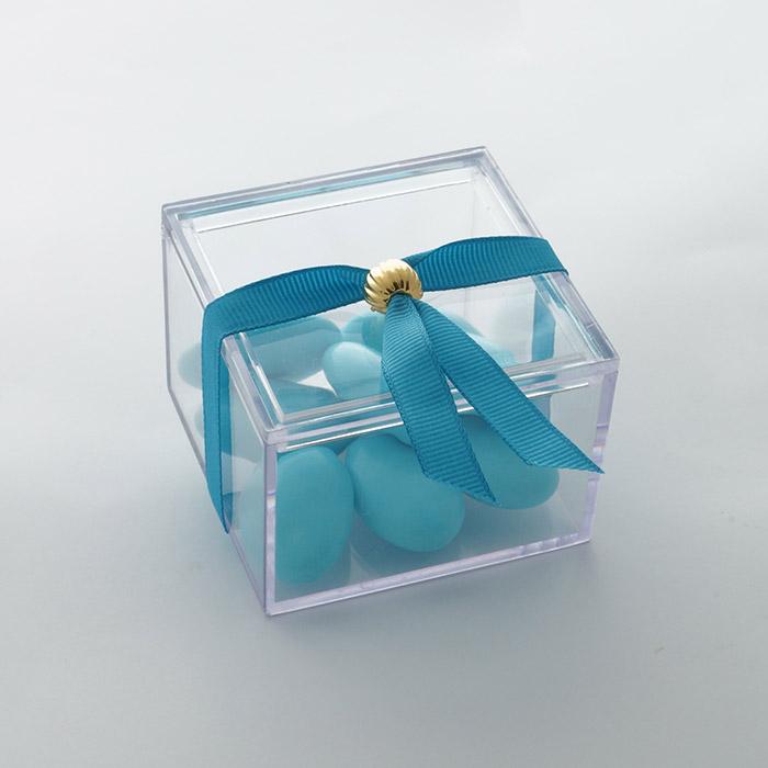 Κουτάκι plexiglass μπομπονιέρα βάπτισης με κουφέτα μπλέ