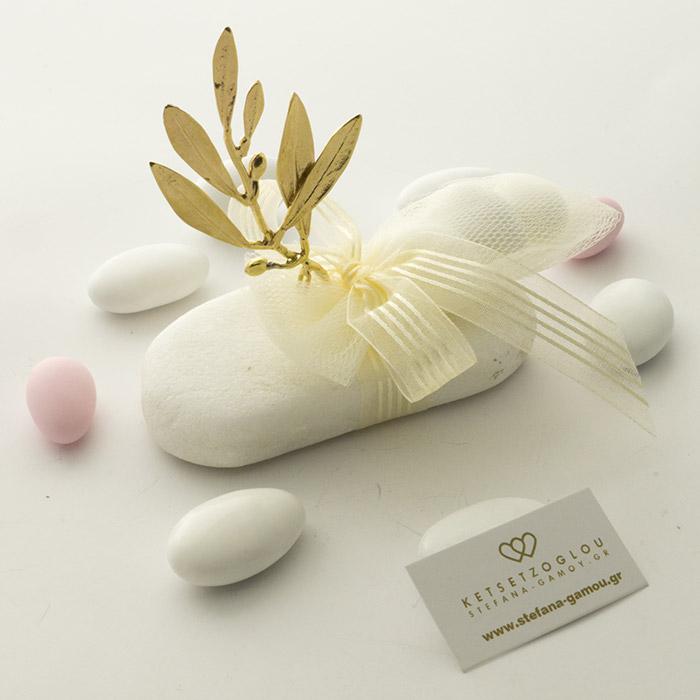 Φύλλο ελιάς σε μάρμαρο Διονύσου μπομπονιέρα γάμου
