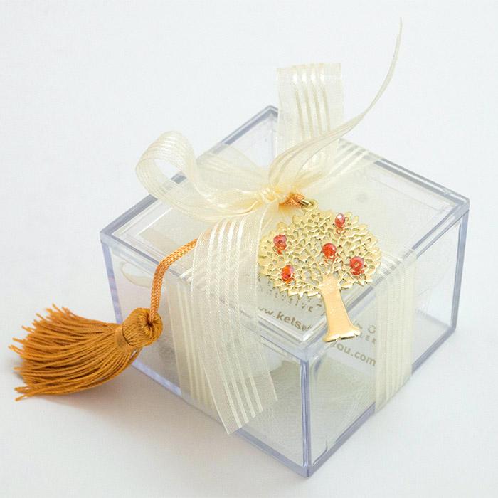 Κουτάκι διάφανο με δέντρο της ζωής σε μπομπονιέρα γάμου