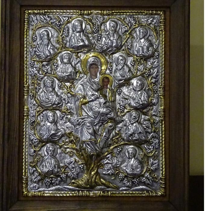 Επίχρυση εικόνα ασημένια Παναγία Άμπελος