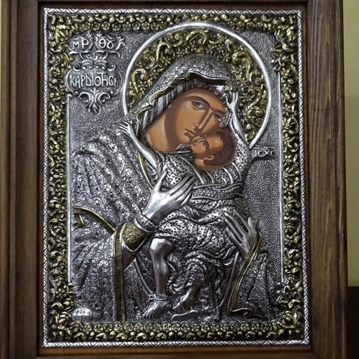 Εικόνα Παγαγία Καρδιώτισσα σε ασήμι με χρυσό