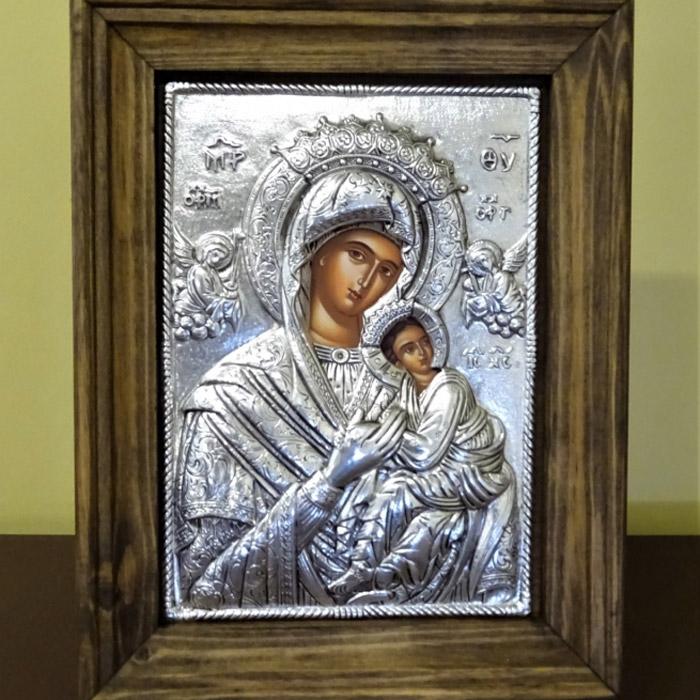 Παναγία Αμόλυντος Βυζαντινή εικόνα σε ασήμι