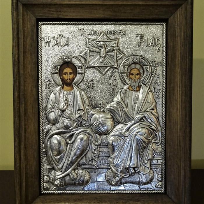Εικόνα Αγία Τριάδα σε ασήμι