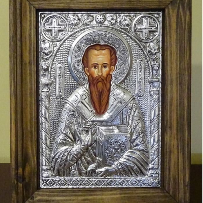 Εικόνα Αγιος Βασίλειος σε κάδρο ασημένια