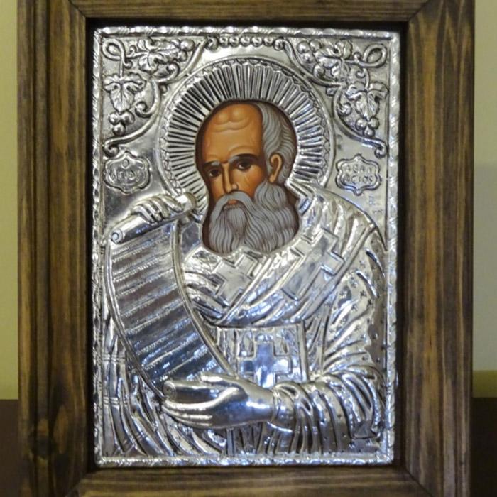 Εικόνα Αγιος Αθανάσιος με κάδρο ασημένια