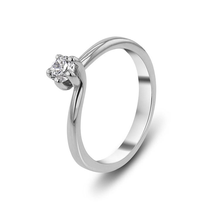 Μονόπετρο δαχτυλίδι με διαμάντι λευκόχρυσο
