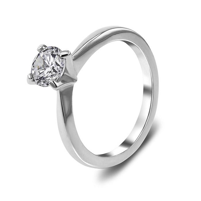 Μονόπετρο λευκόχρυσο με πιστοποιημένο διαμάντι