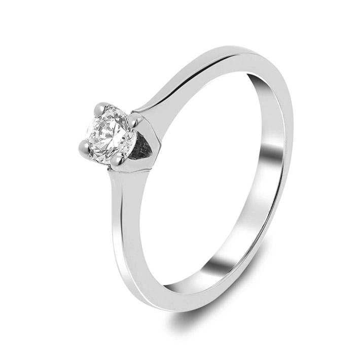 Μονόπετρο δαχτυλίδι λευκόχρυσο με διαμάντι