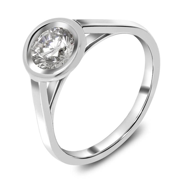 Λευκόχρυσο μονόπετρο χειροποίητο με διαμάντι