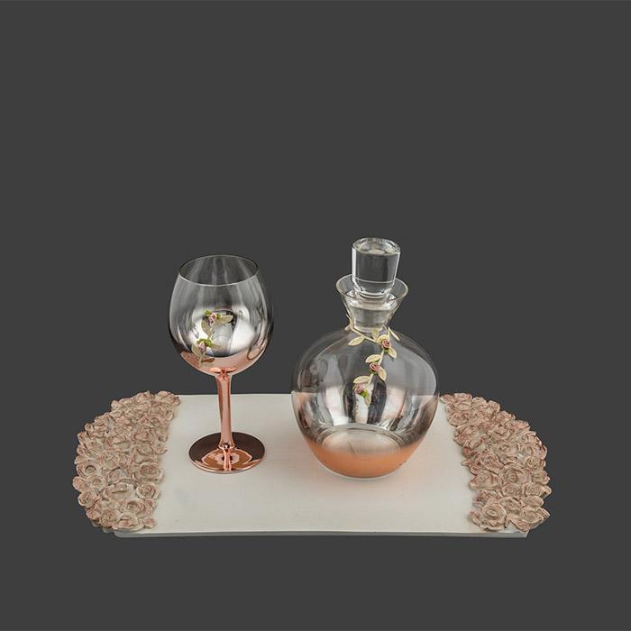 Σετ καράφα ποτήρι δίσκος γάμου