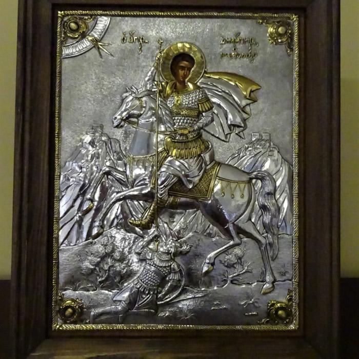 Εικόνα ασημένια Άγιος Δημητριος επίχρυση