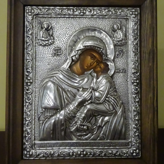 Παγαγία Γλυκοφιλούσα Πάτμου εικόνα ασημένια