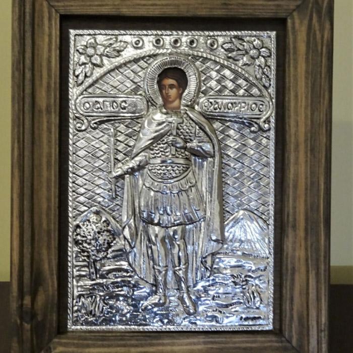 Κάδρο Άγιος Φανούριος ασημένια εικόνα