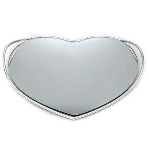 Δίσκος καρδιά επάργυρος με καθρέπτη