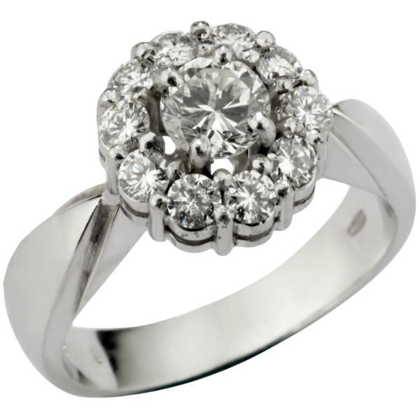Μονόπετρα δαχτυλίδια σε λευκόχρυσο με διαμάντια