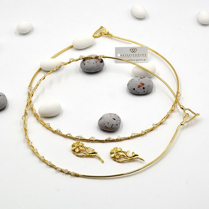 Χρυσά στέφανα διακοσμημένα με ζιργκόν Swarovski