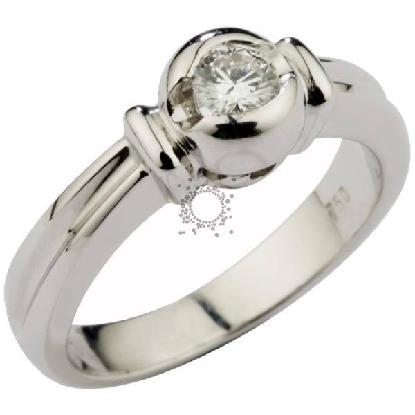 Μονόπετρο χειροποίητο Κ18 λευκόχρυσο με διαμάντι