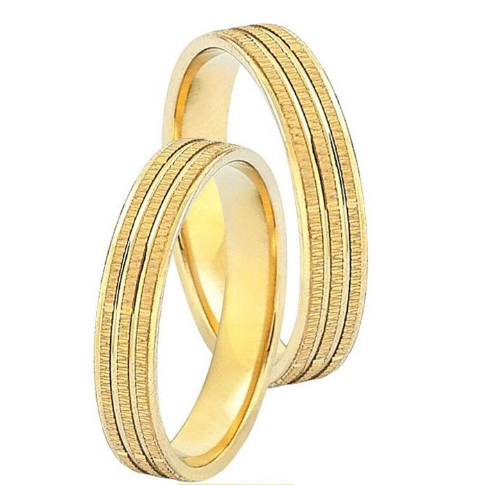 Χειροποίητες βέρες γάμου σε κίτρινο χρυσό
