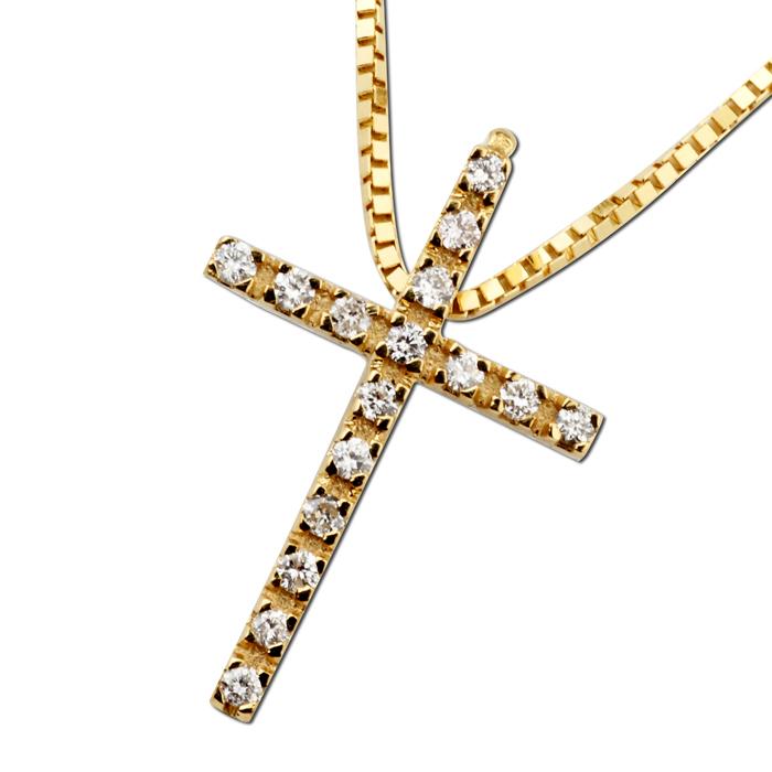 Σταυρός diamonds σε κίτρινο χρυσό
