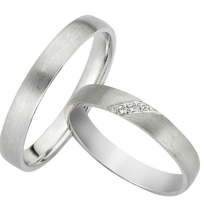 Πρωτότυπες βέρες λευκόχρυσες γάμου με διαμάντι