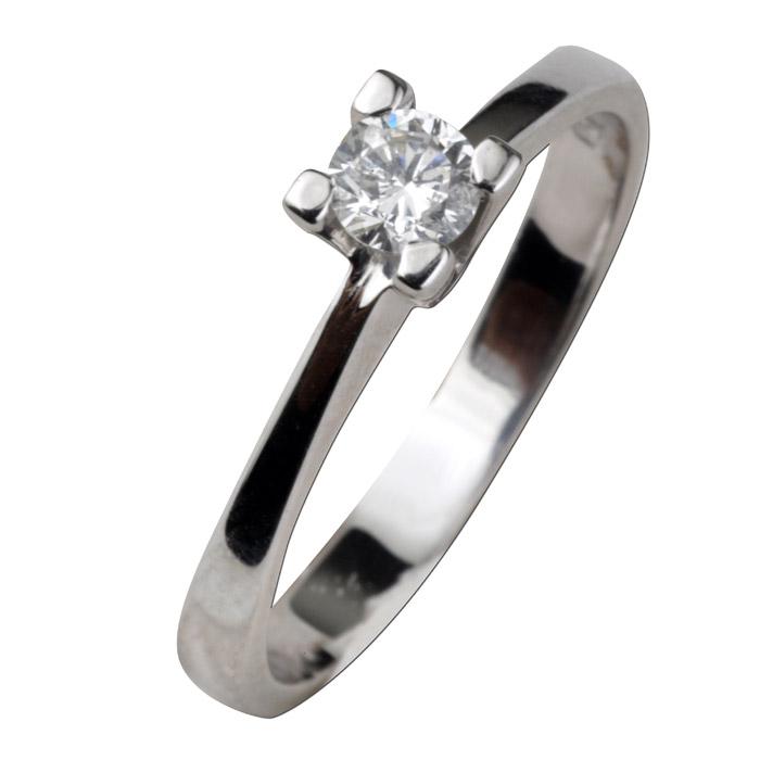 Μονόπετρο λόγου δαχτυλίδι Κ18 καράτια λευκόχρυσο με διαμάντι.