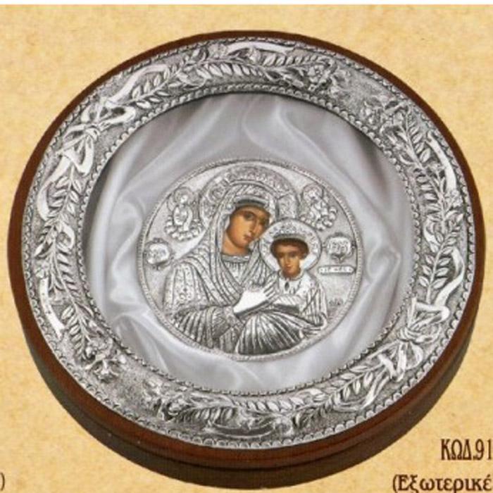Ασημένια στεφανοθήκη με ασημένια εικόνα