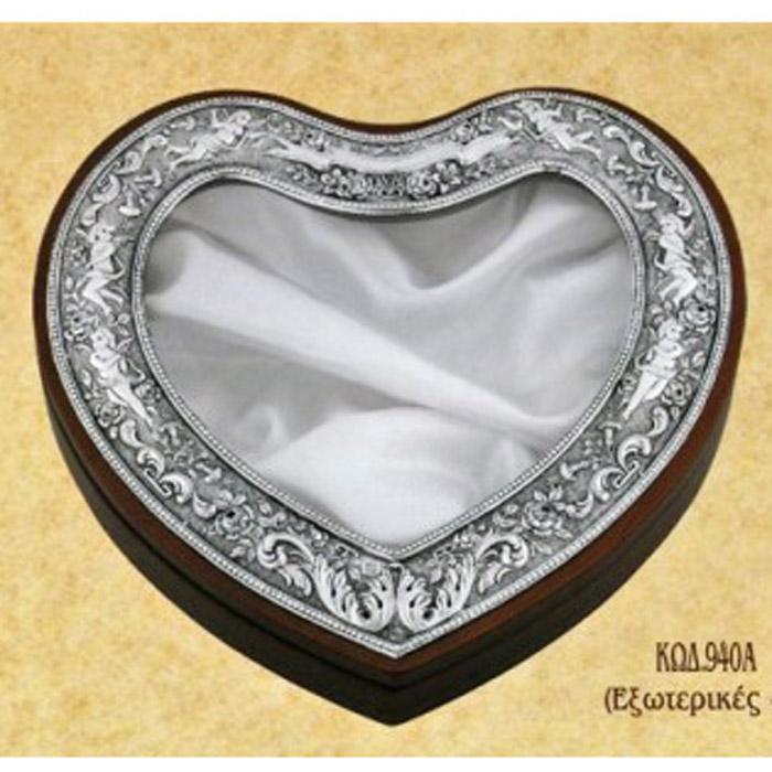 Στεφανοθήκη ασημένια γάμου καρδιά