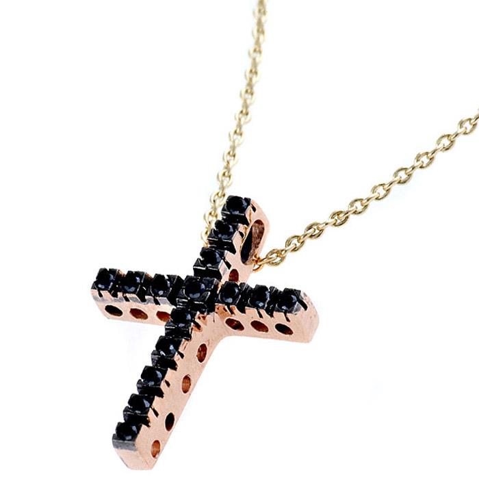 Ροζ χρυσό σταυρός με μαύρα διαμάντια