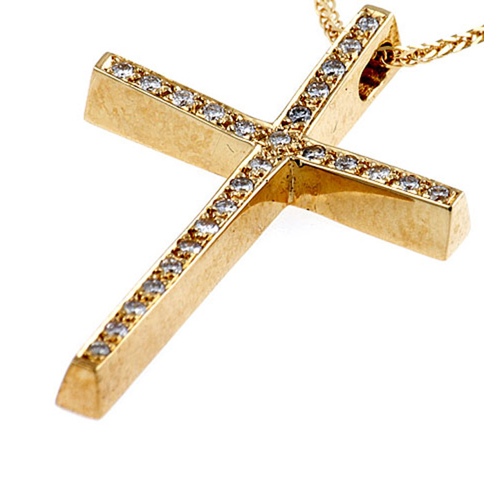 Χρυσός σταυρός με διαμάντια