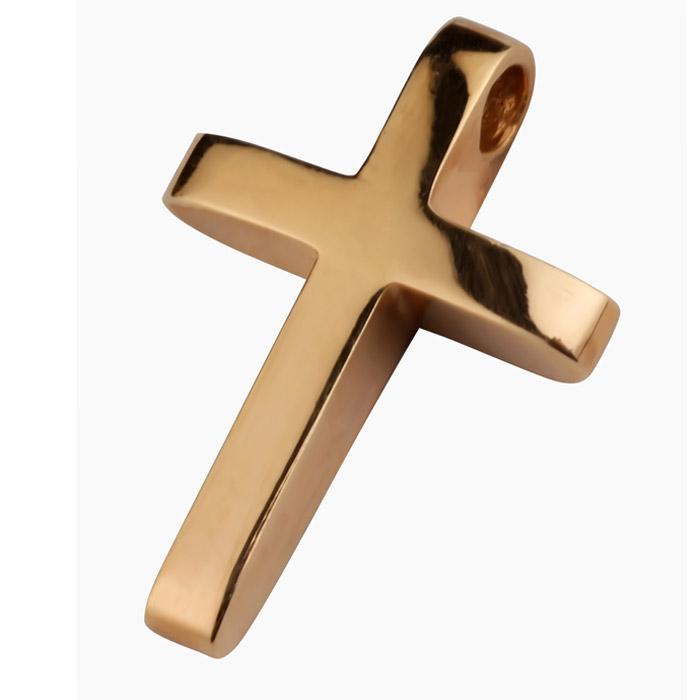 Χειροποίητος βαπτιστικός σταυρός σε ροζ χρυσό