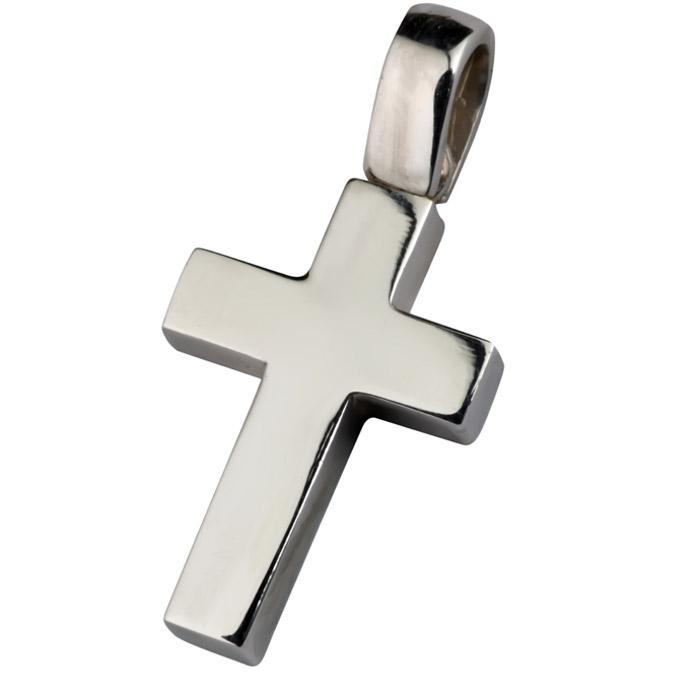 Κλασικός σταυρός λευκόχρυσος για αγόρι η κορίτσι