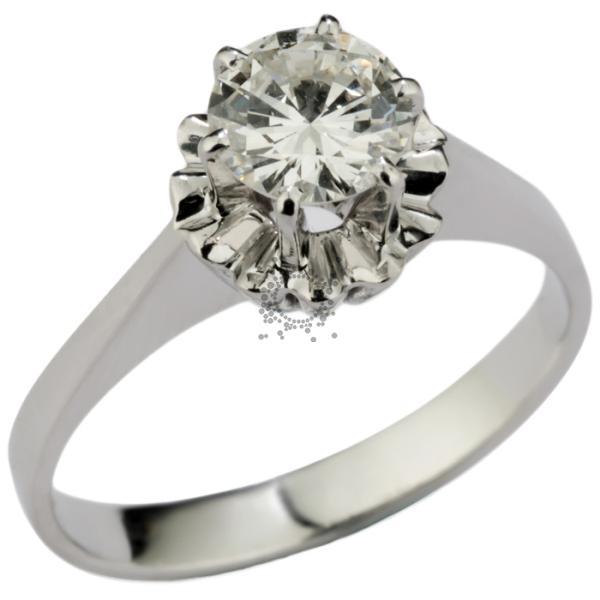 Μονόπετρο κλασσικό δαχτυλίδι Κ18 λευκόχρυσο