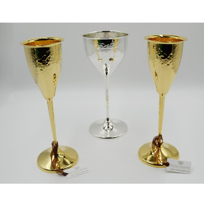 Είδη γάμου επάργυρα ποτήρια σαμπάνιας & ποτήρι κρασιού