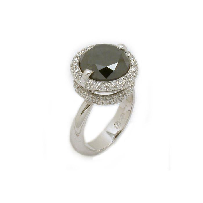 Μονόπετρο δαχτυλίδι με μαύρο διαμάντι