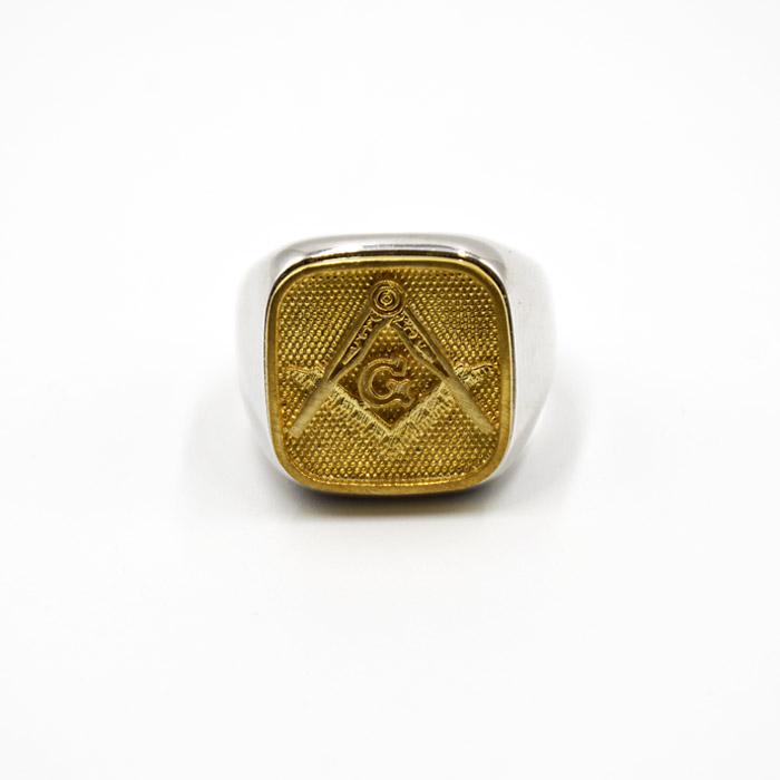 Τεκτονικό δαχτυλίδι ασημένιο σε επίχρυσο