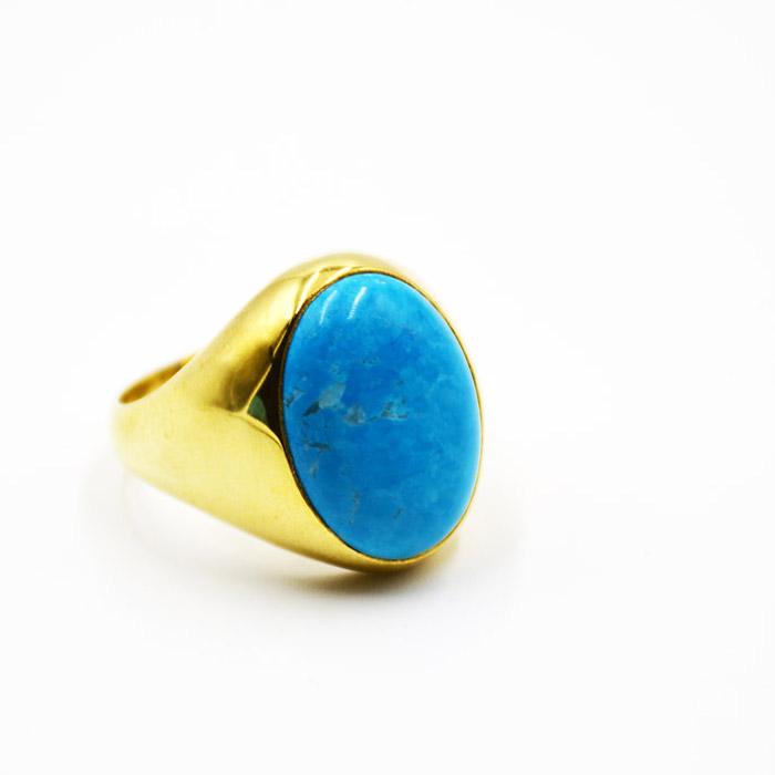 Χειροποίητο ανδρικό δαχτυλίδι με πέτρα τυρκουαζ