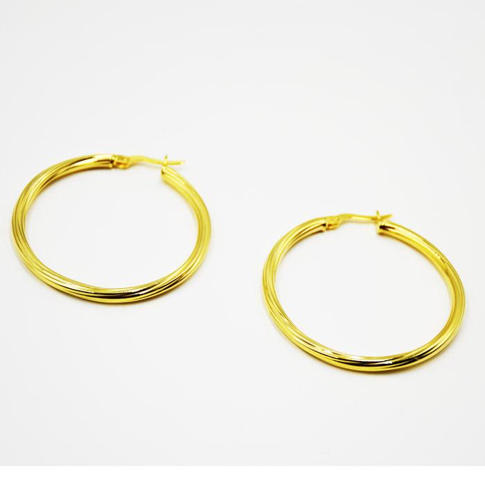 Κρίκοι ασημί σε χρυσό χρώμα